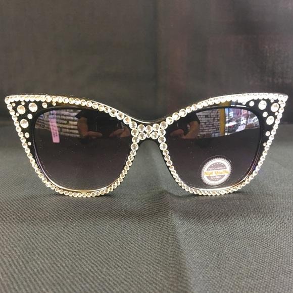 6caaf51361be Crystal Bling Sunglasses Black Cat Eye Glasses
